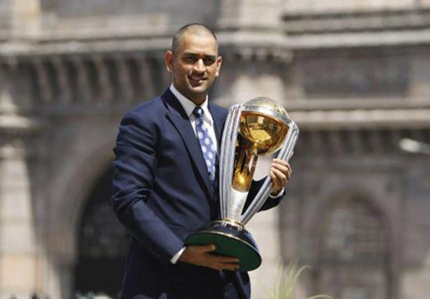 Dhoni with World Cup