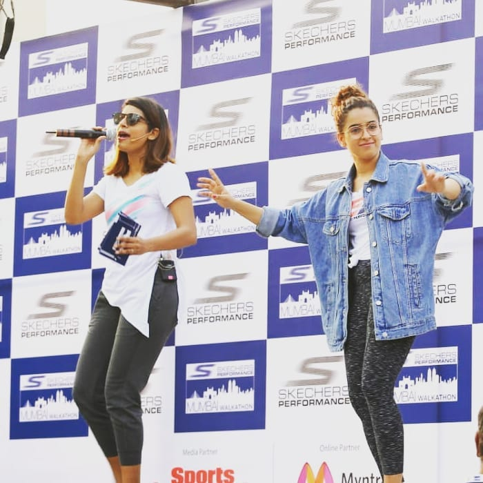 Gaelyn Mendonca while hosting 1ST Walkathon! Skechers Performance Mumbai Walkathon